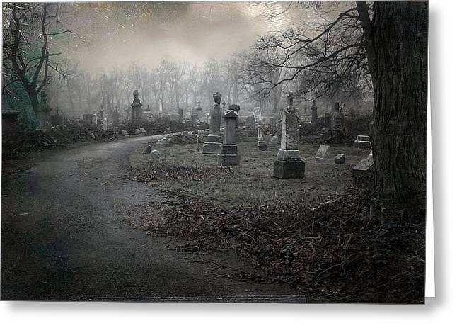 Spooky Graveyard Gothic Path Greeting Card by Gothicrow Images