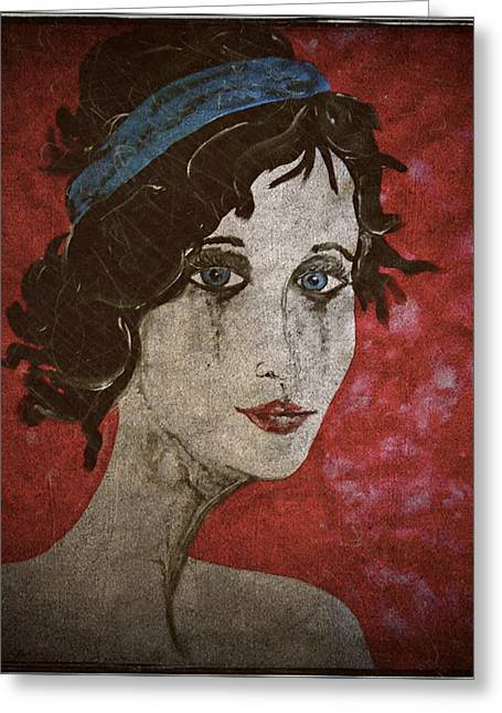Gothic Portrait Red Fine Art Print Greeting Card by Laura Carter
