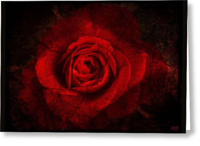 Greeting Card featuring the digital art Gothic Red Rose by Absinthe Art By Michelle LeAnn Scott