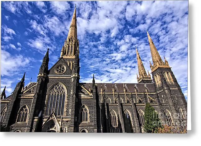 Gothic Revival Style St Patrick's Cathedral In Melbourne Greeting Card by Beverly Claire Kaiya