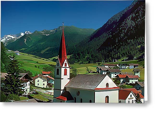 Gothic Spikes In An Austrian Village Greeting Card by Wernher Krutein