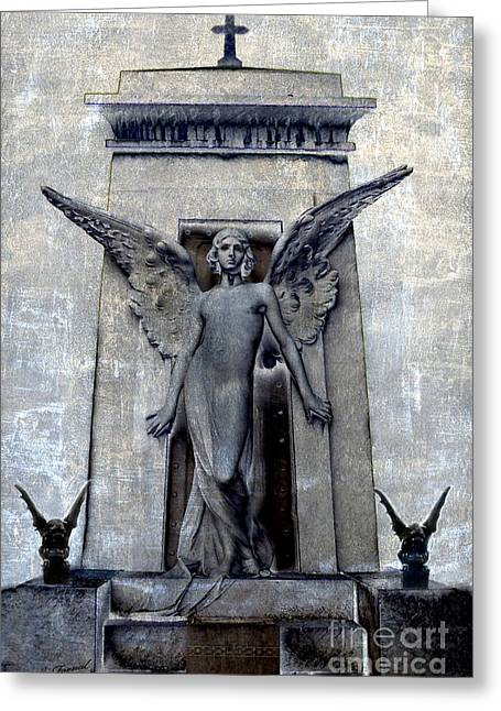 Gothic Surreal Angel With Gargoyles - Fantasy Angel Gargoyle Cemetery Grave Art Greeting Card