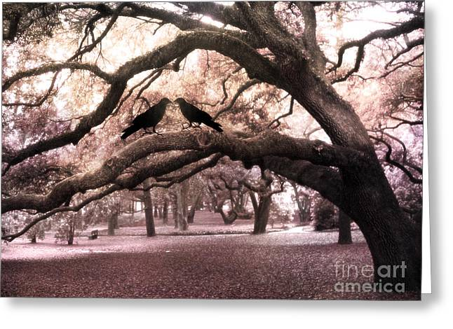 Gothic Surreal Oak Trees And Ravens South Carolina Greeting Card by Kathy Fornal