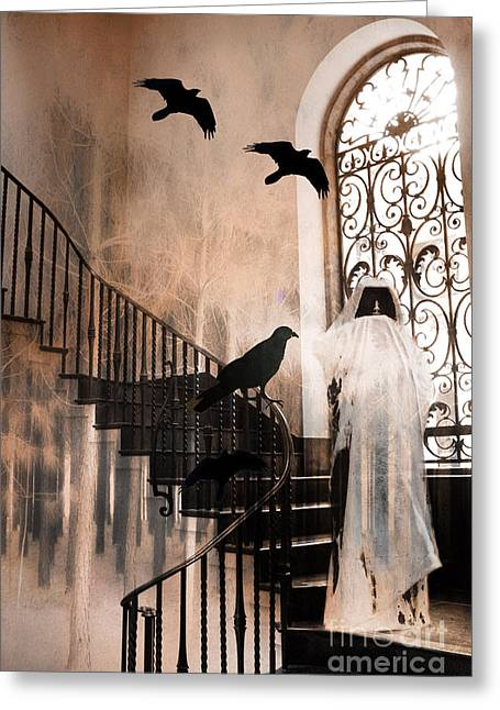 Gothic Grim Reaper With Ravens Crows - Spooky Haunting Surreal Gothic Art Greeting Card by Kathy Fornal