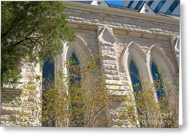 Greeting Card featuring the photograph Gothic Windows - Austin Texas Church by Connie Fox
