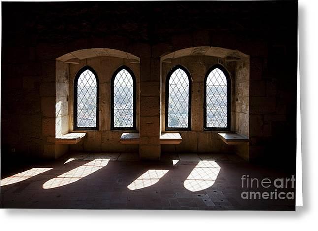 Gothic Windows Of The Royal Residence In The Leiria Castle Greeting Card by Jose Elias - Sofia Pereira