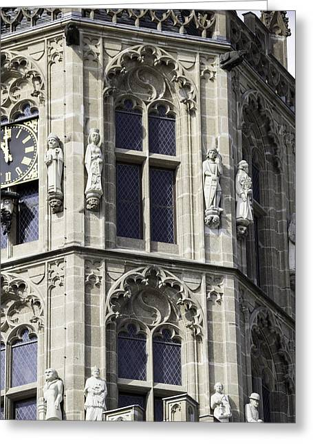 Gothic Windows On Tower Of Rathaus Cologne Germany Greeting Card by Teresa Mucha