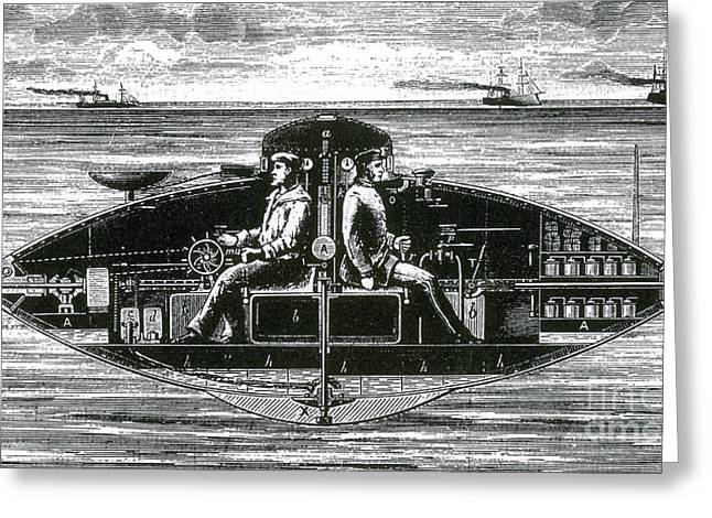 Goubets Submarine Vessel, 1886 Greeting Card