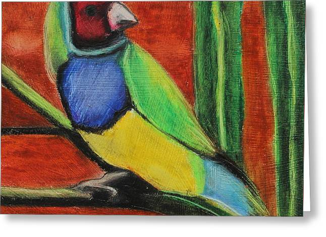 Greeting Card featuring the painting Gouldian Finch by Jeanne Fischer