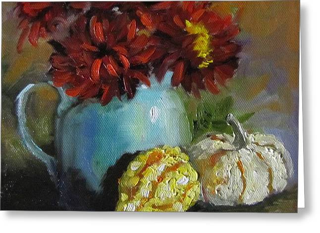 Greeting Card featuring the painting Gourd Painting Iv by Cheri Wollenberg