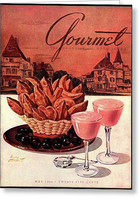 Gourmet Cover Featuring A Basket Of Potato Curls Greeting Card by Henry Stahlhut