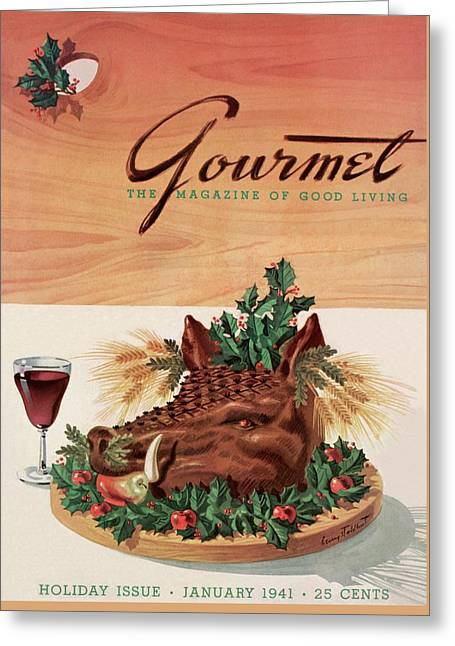 Gourmet Cover Featuring A Boar's Head Greeting Card by Henry Stahlhut