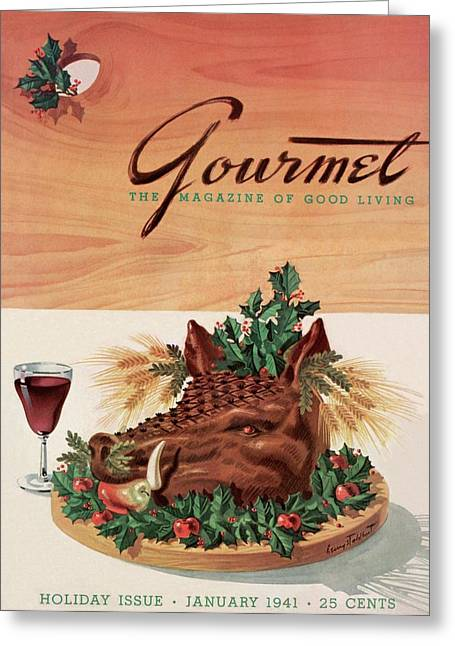 Gourmet Cover Featuring A Boar's Head Greeting Card