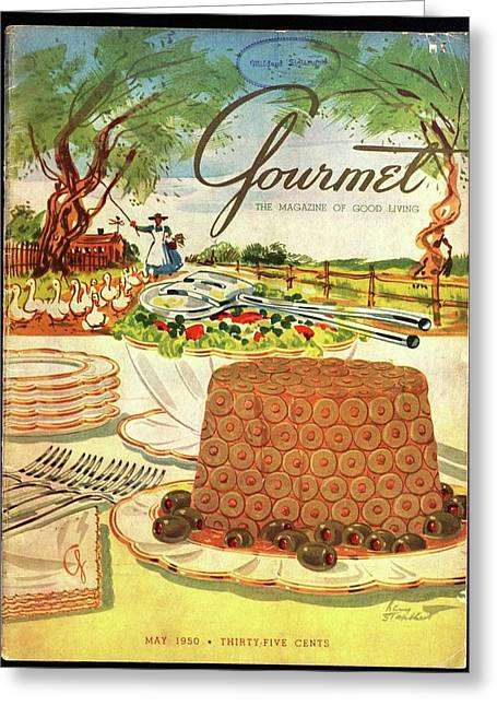Gourmet Cover Featuring A Buffet Farm Scene Greeting Card by Henry Stahlhut