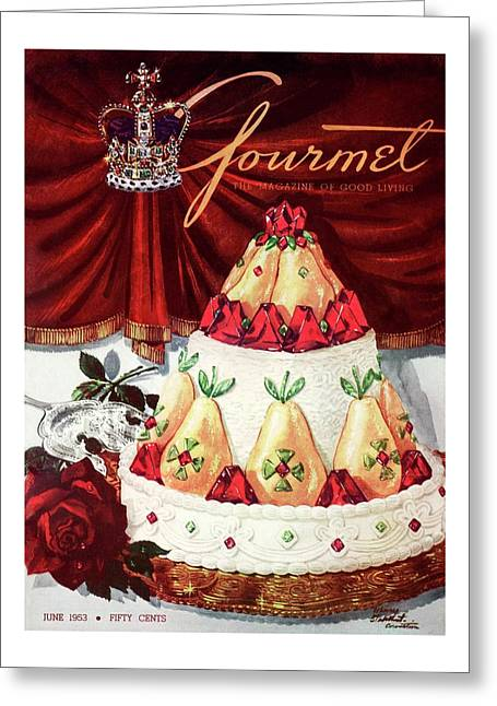 Gourmet Cover Featuring A Cake Greeting Card