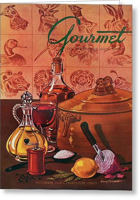 Gourmet Cover Featuring A Casserole Pot Greeting Card