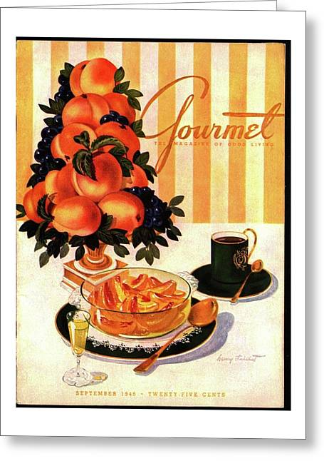 Gourmet Cover Featuring A Centerpiece Of Peaches Greeting Card