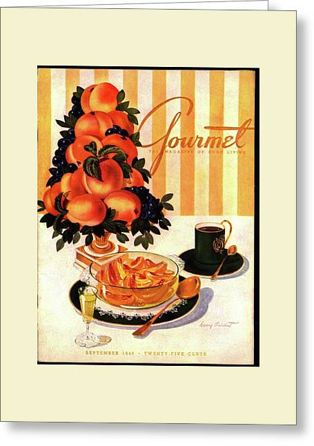 Gourmet Cover Featuring A Centerpiece Of Peaches Greeting Card by Henry Stahlhut