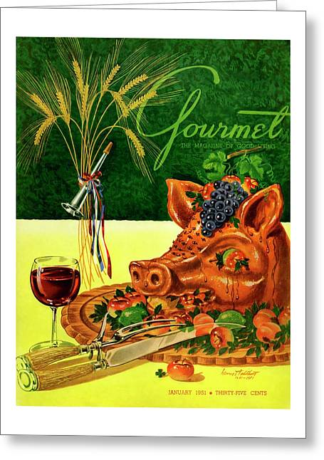 Gourmet Cover Featuring A Pig's Head On A Platter Greeting Card