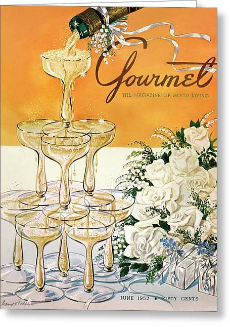 Gourmet Cover Featuring A Pyramid Of Champagne Greeting Card by Henry Stahlhut