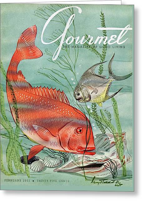 Gourmet Cover Featuring A Snapper And Pompano Greeting Card by Henry Stahlhut