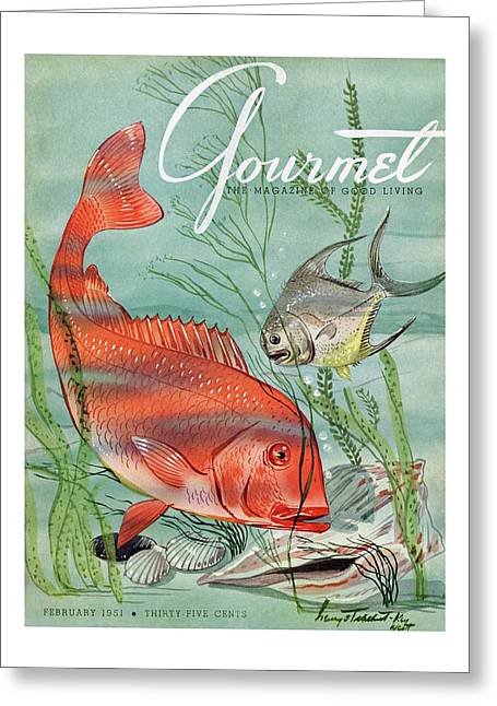 Gourmet Cover Featuring A Snapper And Pompano Greeting Card