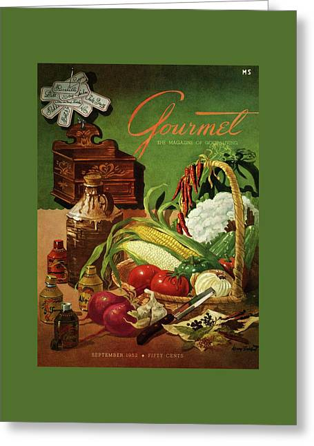 Gourmet Cover Featuring A Variety Of Vegetables Greeting Card by Henry Stahlhut