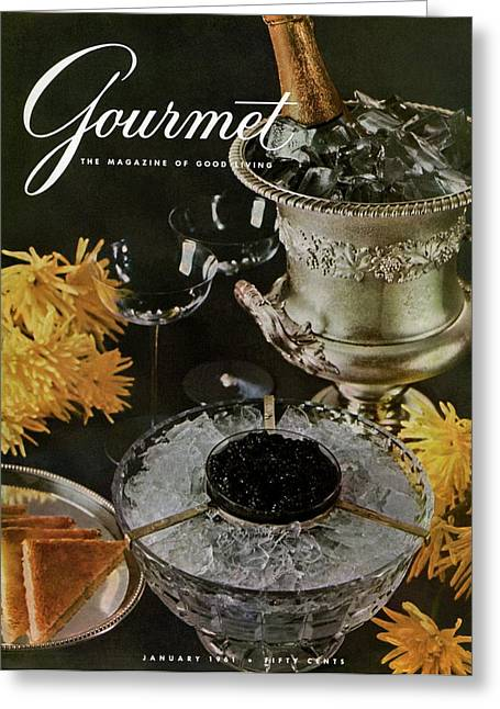 Gourmet Cover Featuring A Wine Cooler Greeting Card by Arthur Palmer