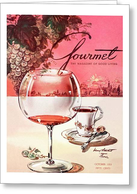 Gourmet Cover Illustration Of A Baccarat Balloon Greeting Card