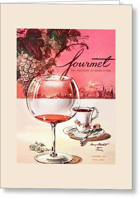 Gourmet Cover Illustration Of A Baccarat Balloon Greeting Card by Henry Stahlhut
