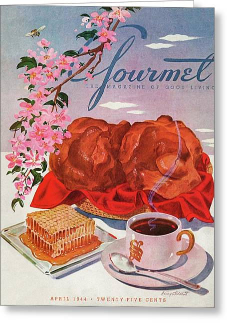 Gourmet Cover Illustration Of A Basket Of Popovers Greeting Card
