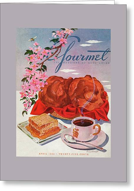 Gourmet Cover Illustration Of A Basket Of Popovers Greeting Card by Henry Stahlhut