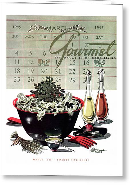 Gourmet Cover Illustration Of A Bowl Of Salad Greeting Card