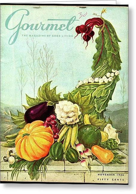 Gourmet Cover Illustration Of A Cornucopia Greeting Card by Hilary Knight