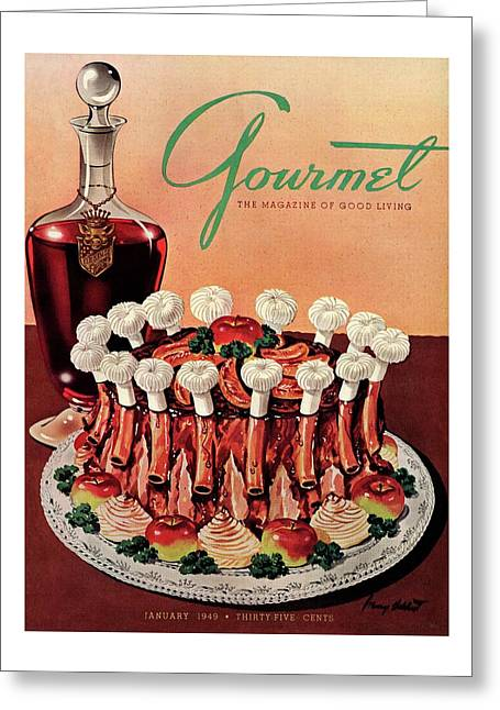 Gourmet Cover Illustration Of A Crown Roast Greeting Card