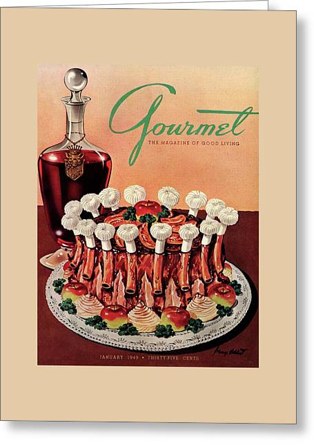 Gourmet Cover Illustration Of A Crown Roast Greeting Card by Henry Stahlhut