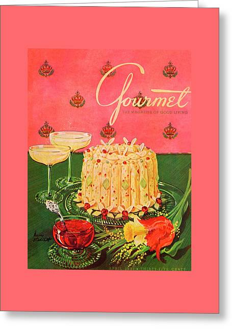Gourmet Cover Illustration Of A Molded Rice Greeting Card by Henry Stahlhut
