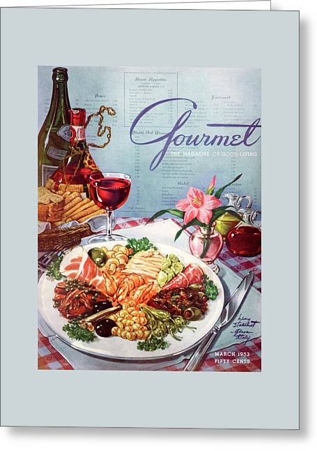 Gourmet Cover Illustration Of A Plate Of Antipasto Greeting Card by Henry Stahlhut