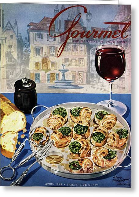 Gourmet Cover Illustration Of A Platter Greeting Card by Henry Stahlhut