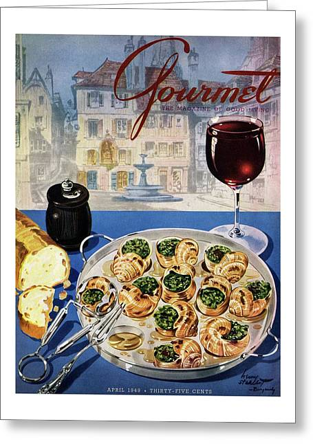 Gourmet Cover Illustration Of A Platter Greeting Card