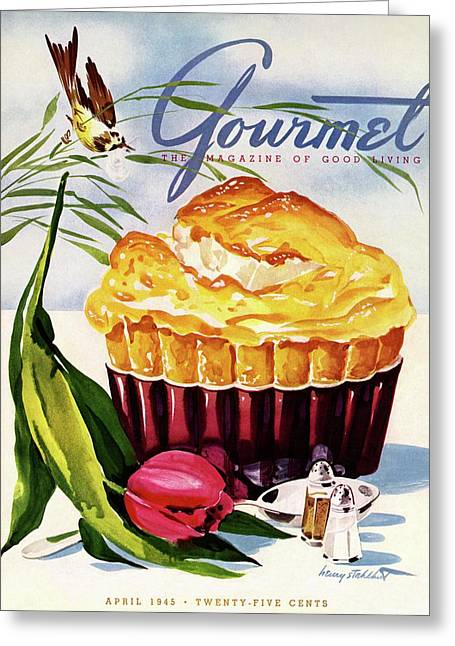 Gourmet Cover Illustration Of A Souffle And Tulip Greeting Card