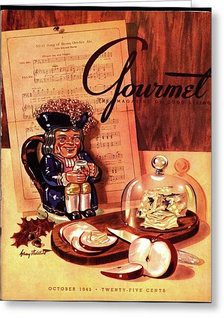 Gourmet Cover Illustration Of A Tray Of Cheese Greeting Card