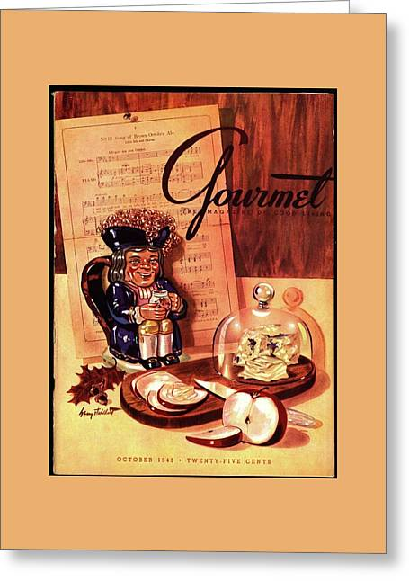 Gourmet Cover Illustration Of A Tray Of Cheese Greeting Card by Henry Stahlhut