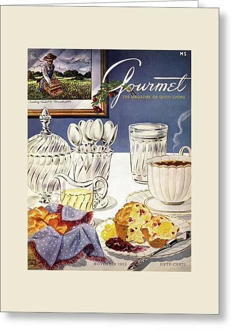 Gourmet Cover Illustration Of Cranberry Muffins Greeting Card by Henry Stahlhut