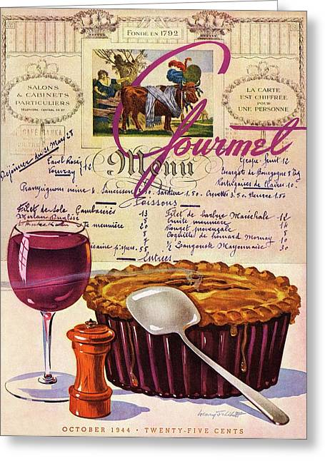 Gourmet Cover Illustration Of Deep Dish Pie Greeting Card by Henry Stahlhut