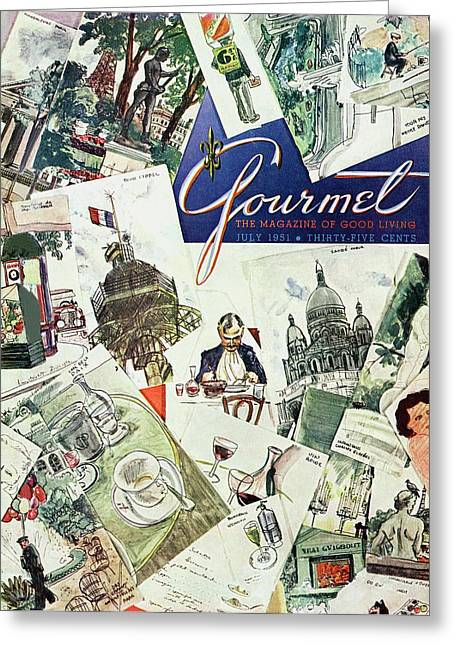 Gourmet Cover Illustration Of Drawings Portraying Greeting Card by Henry Stahlhut