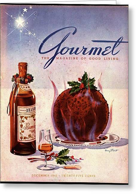 Gourmet Cover Illustration Of Flaming Chocolate Greeting Card