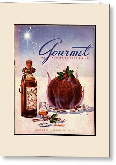 Gourmet Cover Illustration Of Flaming Chocolate Greeting Card by Henry Stahlhut