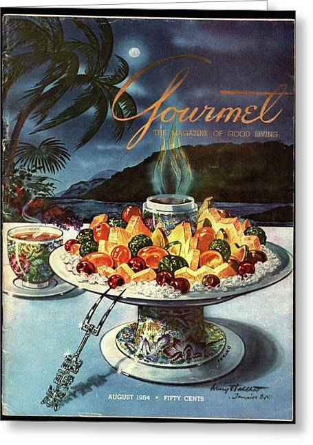 Gourmet Cover Illustration Of Fruit Dish Greeting Card