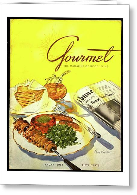Gourmet Cover Illustration Of Grilled Breakfast Greeting Card